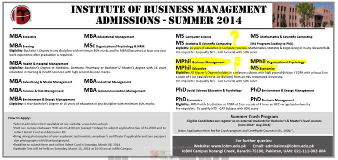 IoBM Admission 2014